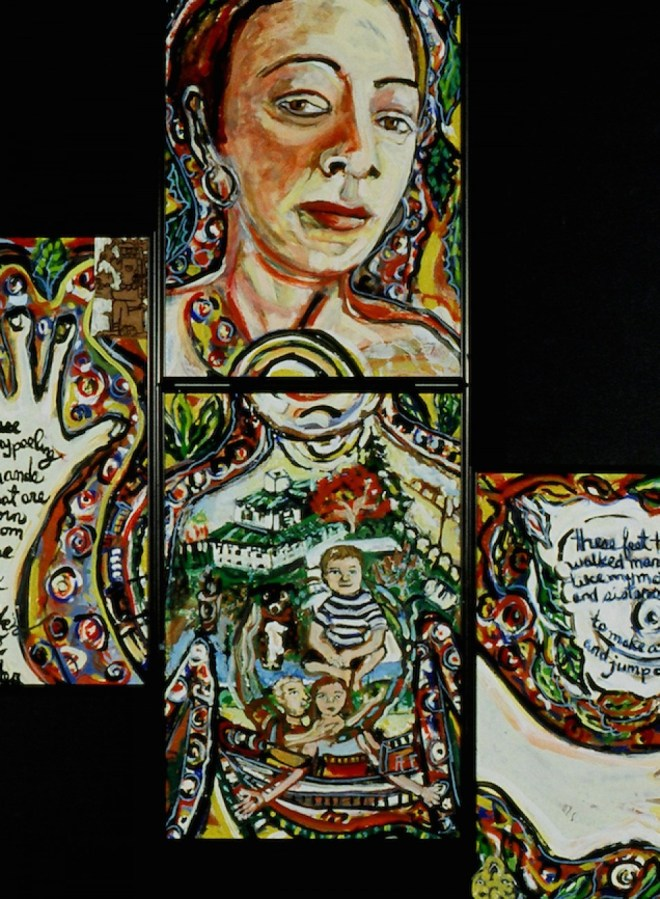 Four pieces of me, oil and enamel
