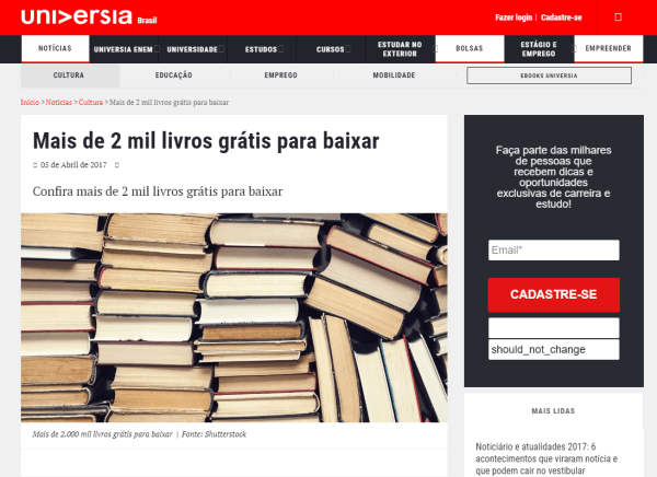 site universia download de livros gratuitos