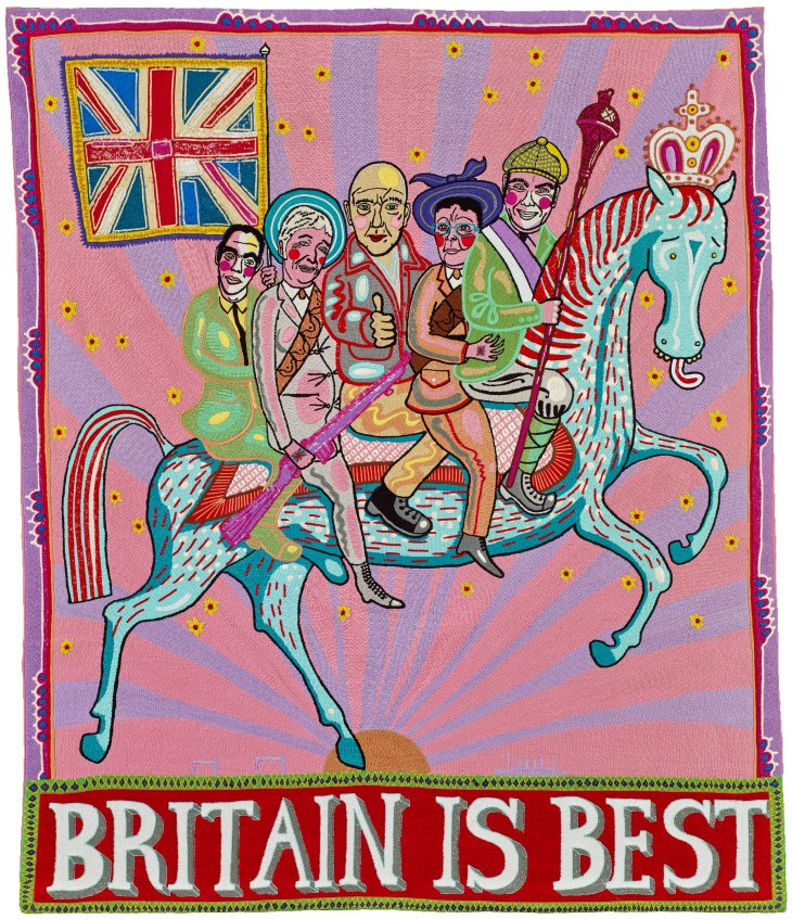 (13) Grayson Perry, Britain is Best, 2014, Number 13 of an edition of 20, 120 cm x 100 cm. Courtesy of Castlegate House Gallery