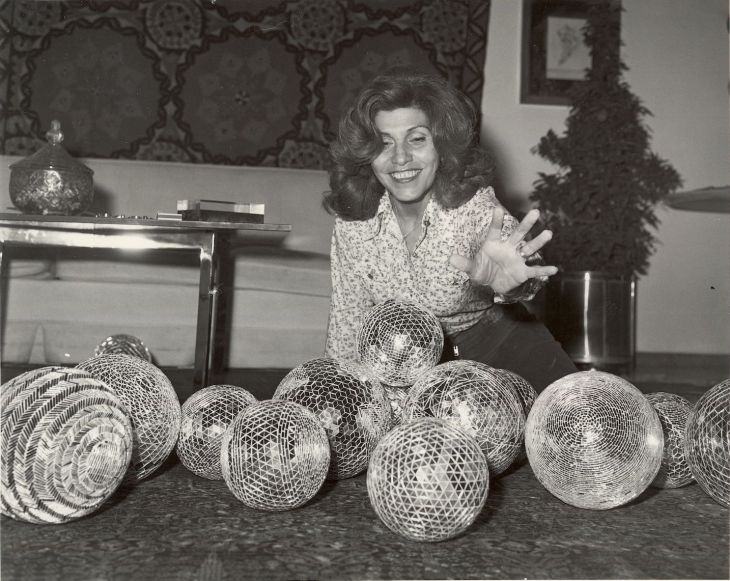 Monir in her salon 1975_Tehran_Bukhara(Turkoman textile) in background_