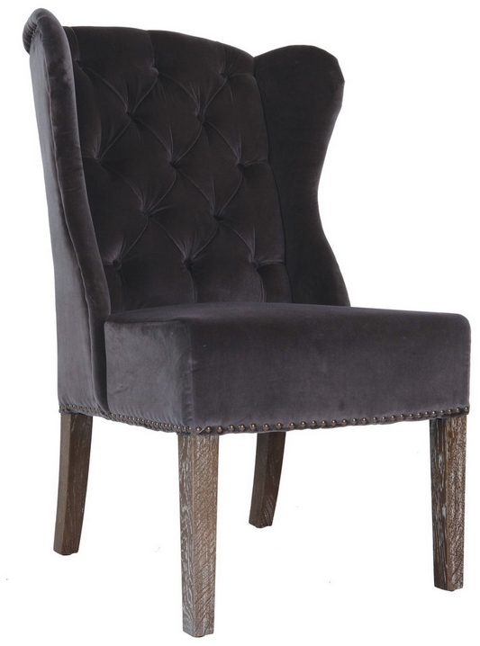 grey tufted dining chairs canada leather wing parson, room & kitchen :: sl-0407 wingback velvet dinning chair - artefac usa