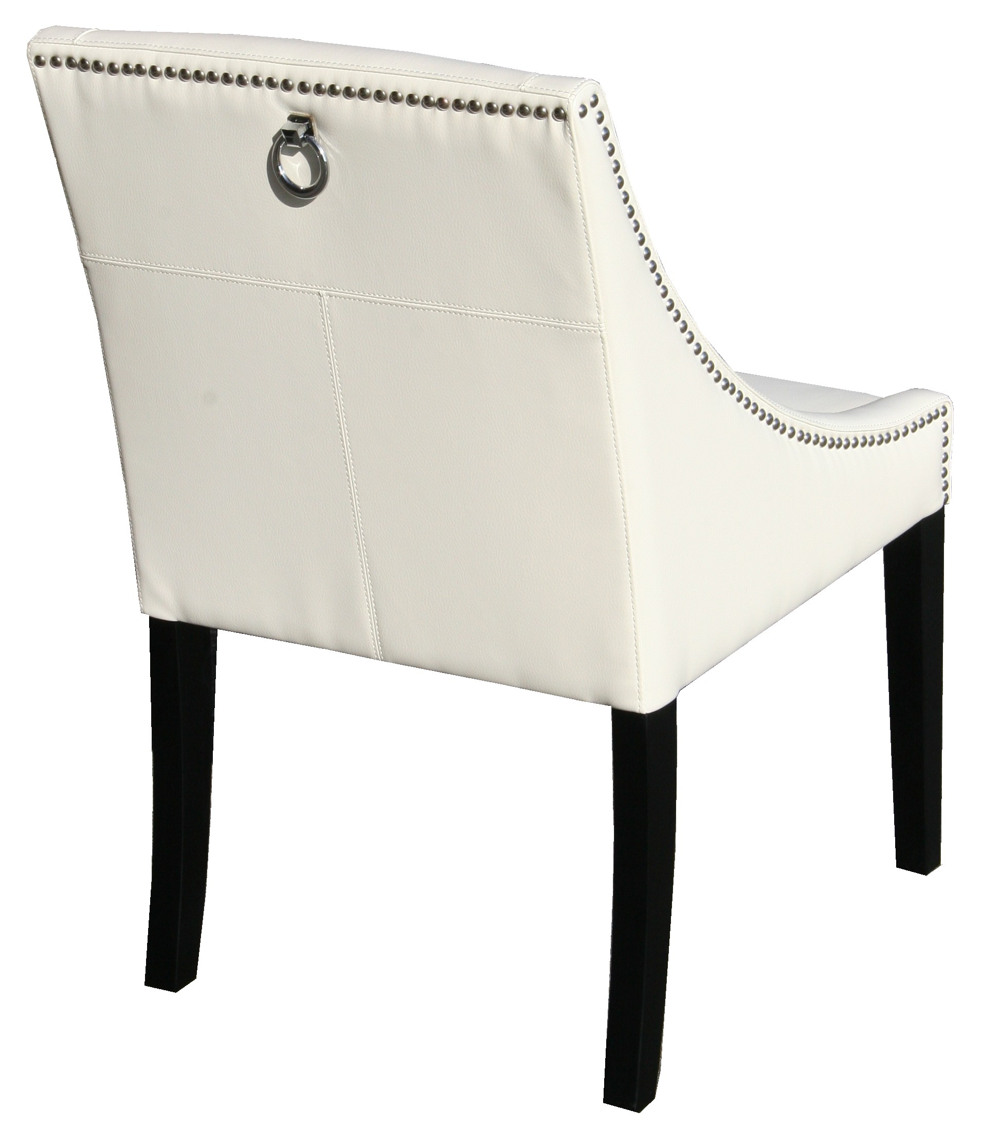 Parsons Ivory Leather Dinning Chair with Silver Nail Head