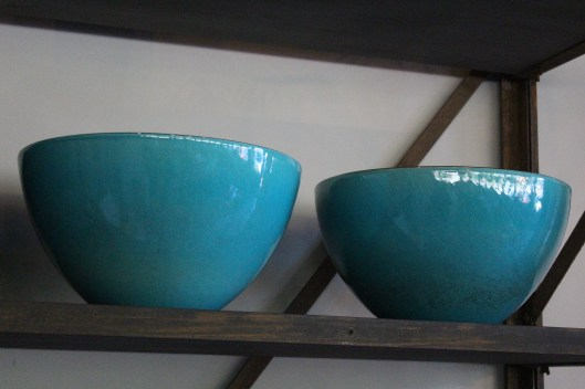xl bowls with teal glaze
