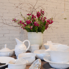 white plates flowers home furnishings in Belmont