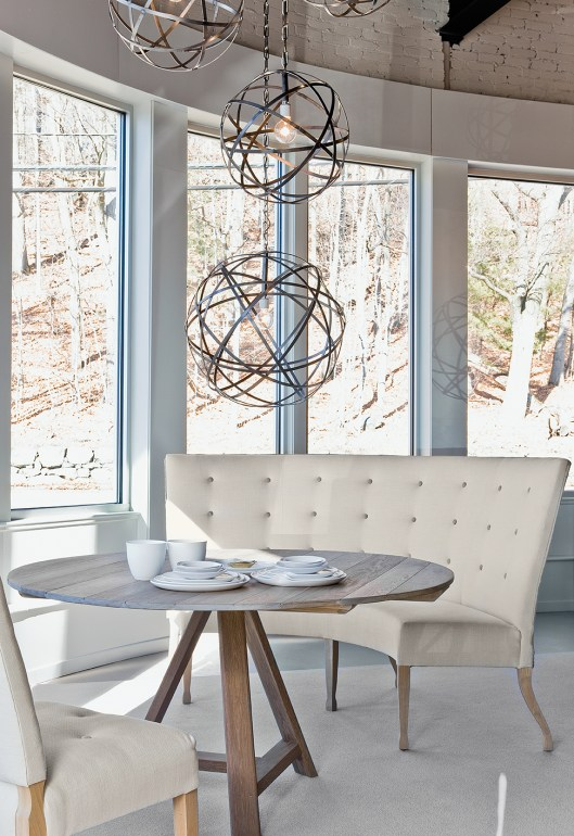 Verellen, Fermette Round Table, Caroline Banquette, Emanuelle Chairs, Iron Orbs, Chandelier, Montes Doggett Tableware,