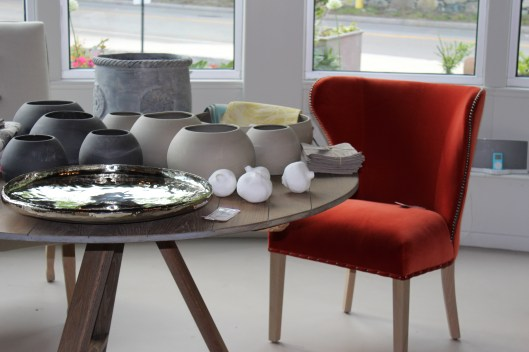mushroom and charcoal bowls, florentine round planter in lead grey, the ever fabulous isabella chair by verellen
