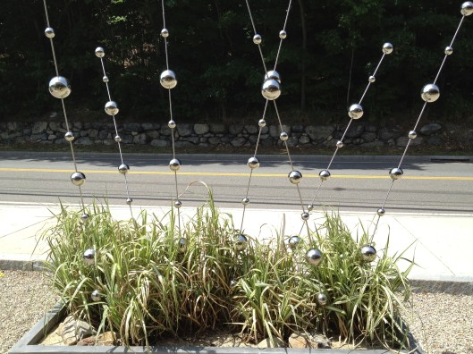 large rectangular planter from pennoyer newman (stays outside year round) with grasses and ball sways