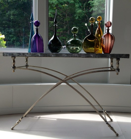 """zinc console table - designed and crafted in the usa - """"found base"""" and euro zinc top"""