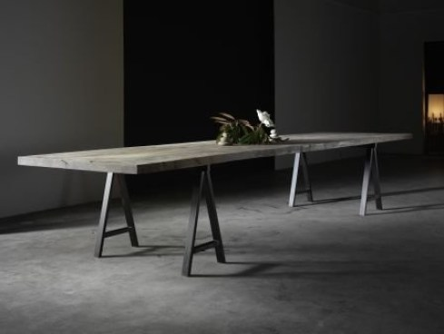 stunning artisan crafted table - our newest piece is in black walnut, sultry misty finish and black iron 'trestle' legs - custom size for grand family gatherings or sleek desk or library table