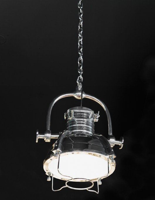 """Chrome Pendant Light Originally in the restaurant kitchen of a South American grand hotel This is our last one - the hardware is beautiful + substantial 17""""w x 24""""h - approx. 3' chrome chain Retail $ 1400"""