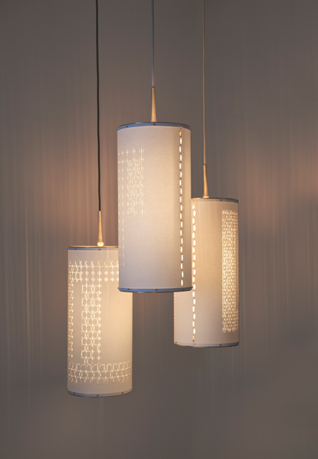 "Laser Cut Cylinder Lights stunning precision cut pendant lights - glorious hardware - choice of cord color - artisan made in the usa 26.5""h x 9"" diameter Retail $ 1350.   25% off custom orders placed Nov. 1st + 2nd"
