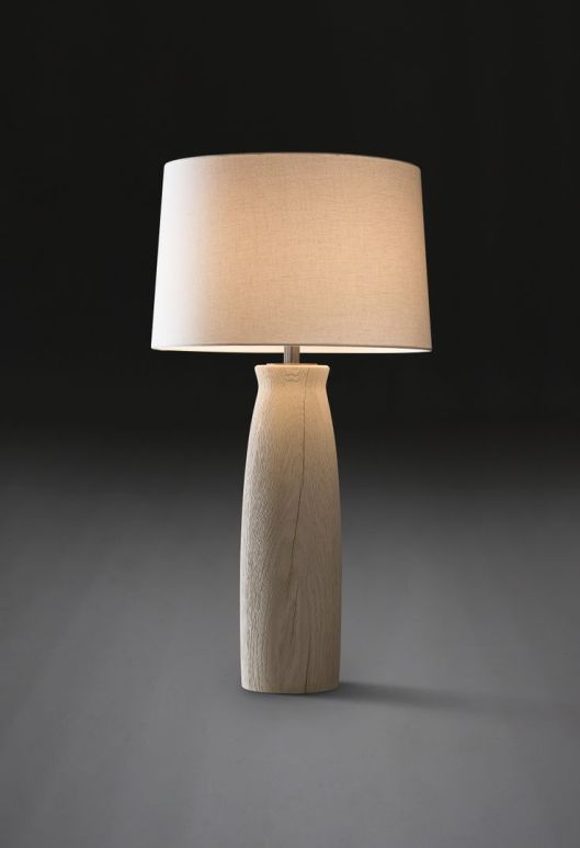 "Milan Table Lamp, Verellen named for italy's 'design city' - sleek, simple 40""h x 22"" diameter, 8"" at base as shown: sandblasted bleached oak, also available in sandblasted flat black oak aged before shipping 4 shade color options Retail: $ 1480 20% off orders placed Nov. 1st and Nov. 2nd"