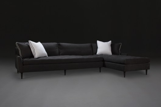 blanche chaise sectional - sultry charcoal linen