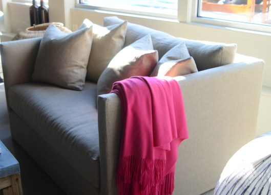 the millie chair and half in flax linen - makes a great reading nook for 2