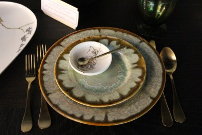beautiful oyster series plates with caskata dipping dish