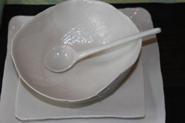 textured porcelain serving pieces - linen + burlap, porcelain spoon