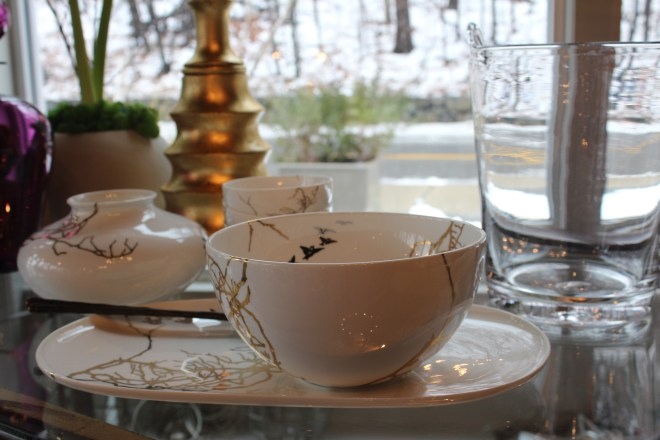 wedding gift (or self gift -why not, it's on sale) - porcelain bowls hand painted in gold + platinum - the birds + branches design is a limited edition - designed in massachusetts, made in the usa