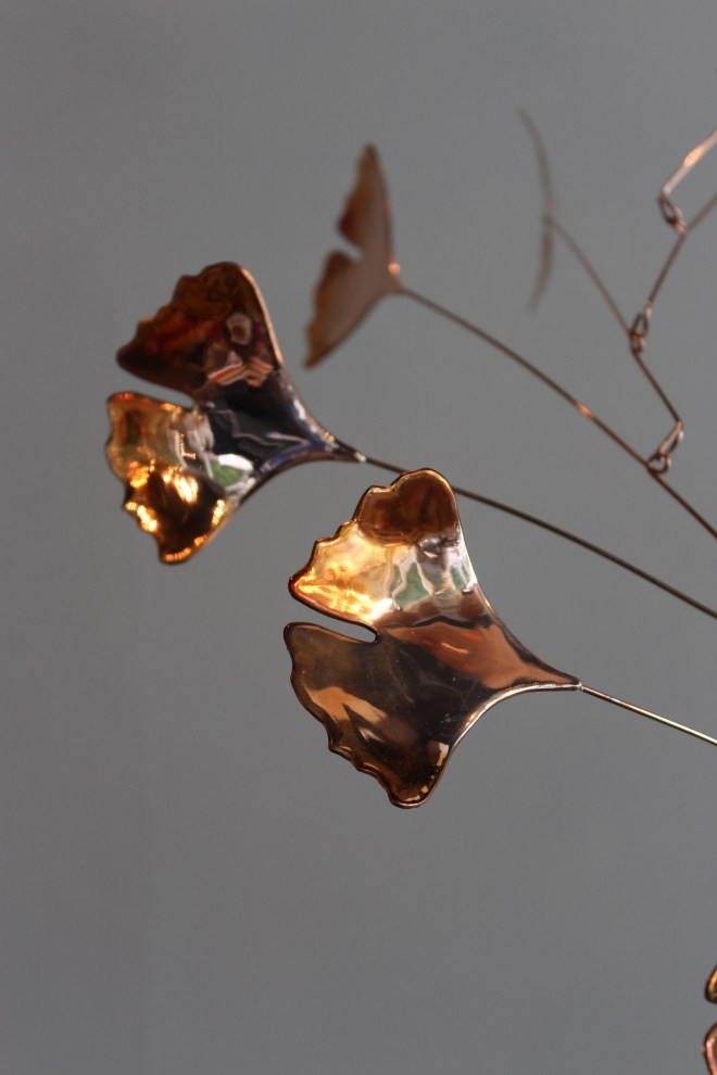artisan made copper mobiles - gingko leaves - balanced + brilliant - makes the light play