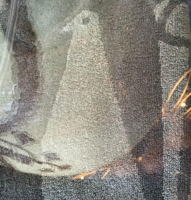 peacock hand towel grey