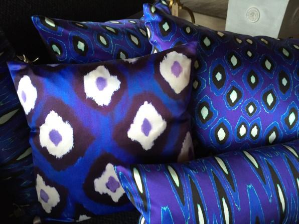 SILK PILLOWS - linen back - brilliant colors retail: $ 260 SIDEWALK SALE $ 90
