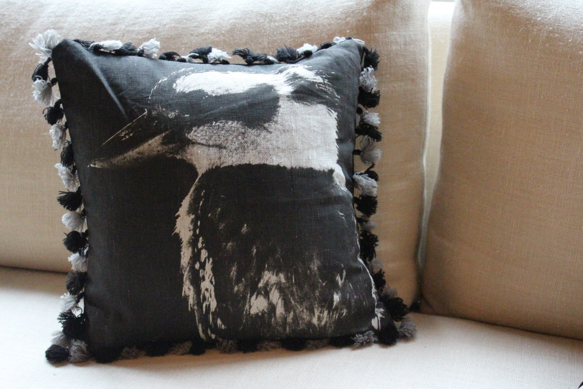 kookaburra pillow with fringe 110113