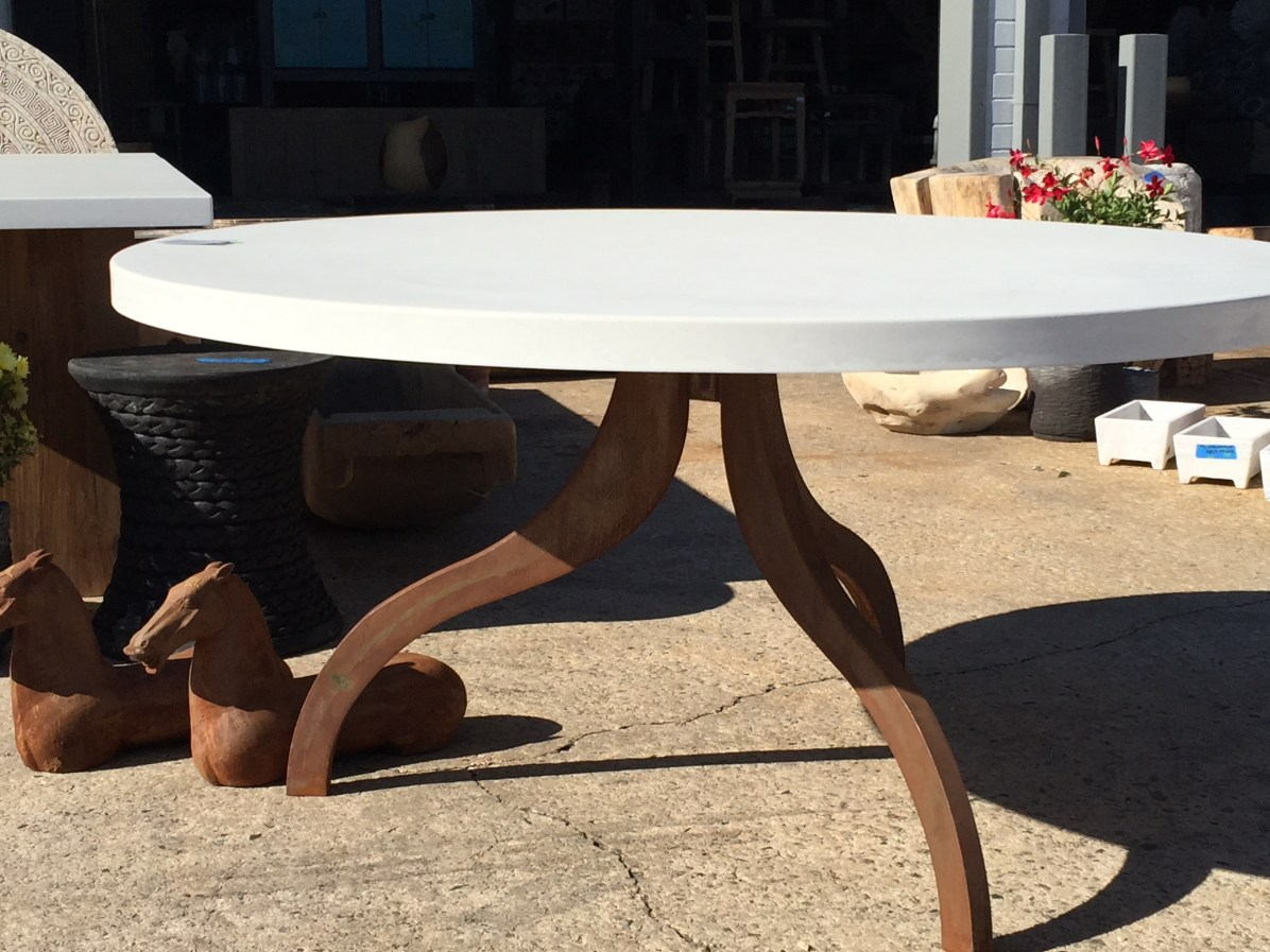 """the plow base table - 60"""" with concrete top (indoor/outdoor)"""