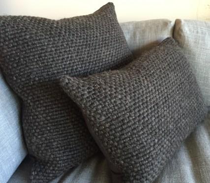 alpaca charcoal woven pillows