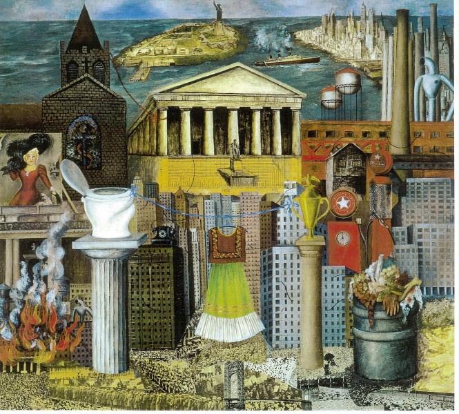 """""""Allá cuelga mi vestido"""" ó """"Nueva York"""" (1933) Pintura que retrata su estancia en Estados Unidos."""