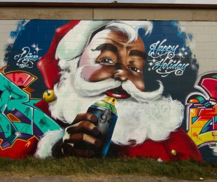 Vogue TDK, Sear and Musa graffiti Santa in Oakland