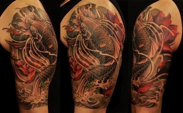 ejemplos tatuajes de peces blanco y negro 8 Koi carpa