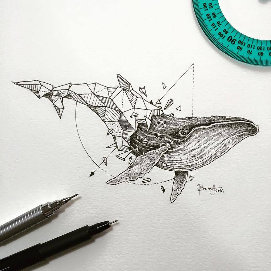 Increíbles Dibujos Geométricos De Animales Salvajes Arte Feed