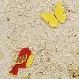 Quadretto farfalla e uccello