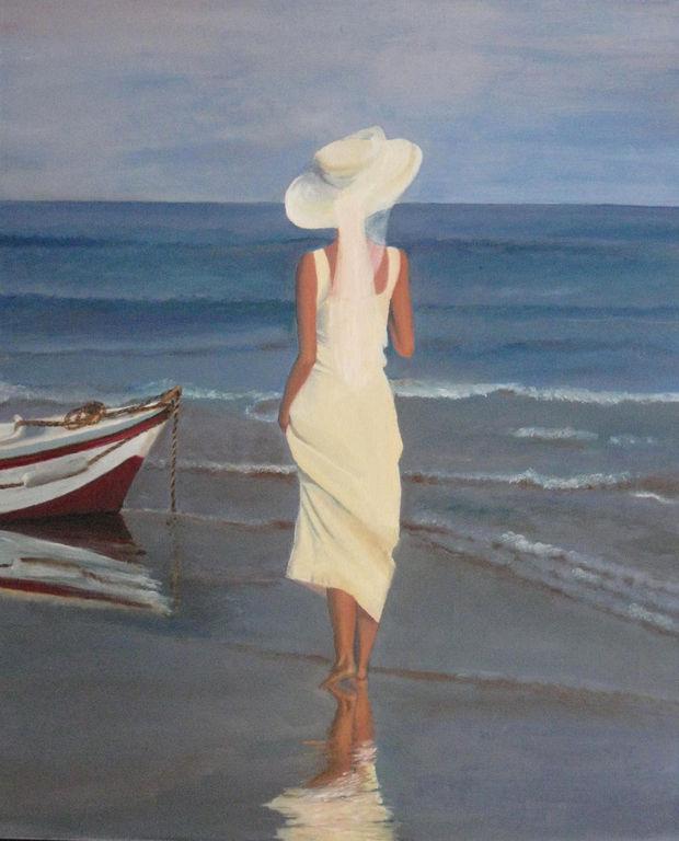 Ilustración de mujer frente al mar.