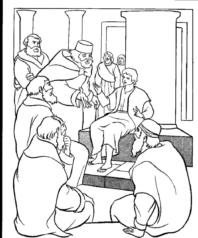 Jesus at the Temple as A Boy Coloring Page