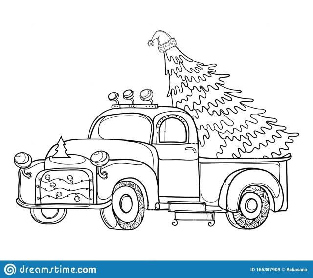 Vintage Truck with Christmas Tree Coloring Page