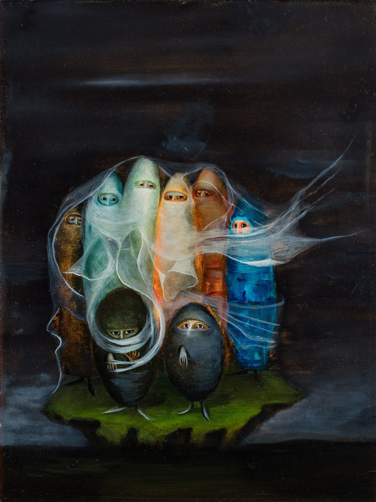 Bridget Tichenor, Die Surrealisten/Die Spezialisten, 1956, Oil on Mazonite, 40 x 30,2 cm, Privatsammlung Mexico, © Bridget Tichenor Surrealistinnen