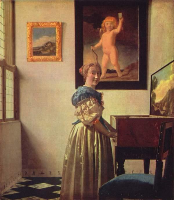 Johannes Vermeer a Lady Standing at Virginal