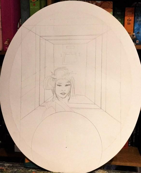 Geisha en el bastidor elipse