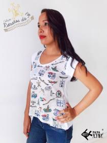 Camisa feminina Símbolos do Círio: R$30,00. tamanhos M, G, GG e XG (pronta entrega)