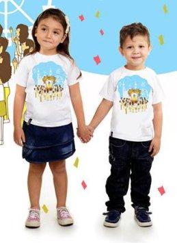 Camisas Infantis Círio da família: R$ 25,00 (Preço promocional). Tamanhos disponíveis: 1 ano, 2 anos, 6 anos, 8 anos e 10 anos.