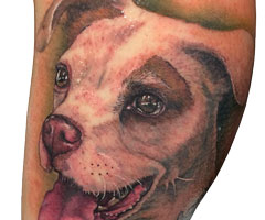 tatuajes barcelona pierna con perro
