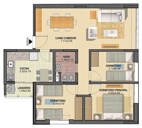 citadino oriental plano 3 dormitorios Unidades 101 a 901
