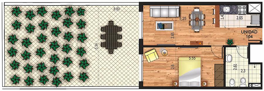 marina 21 1 dormitorio con patio
