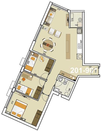 Torre Indigo plano 3 Dormitorios