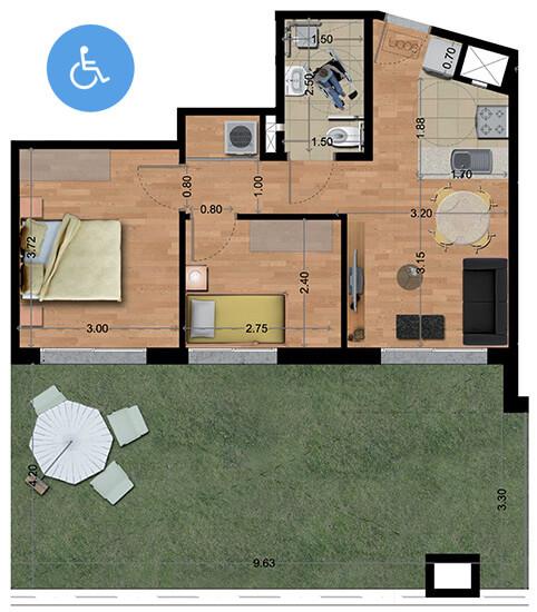 Ventura Plaza plano 2 dormitorios