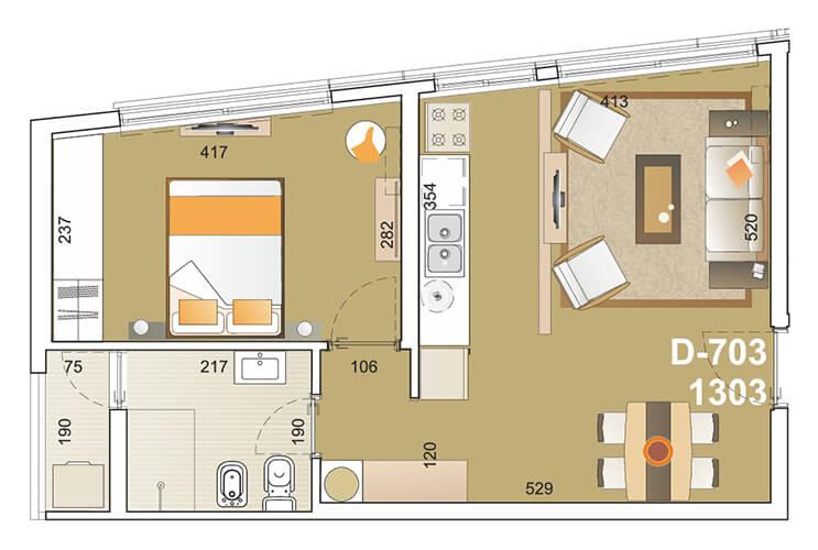 E-Tower Sky 1 dormitorio tipologia 03