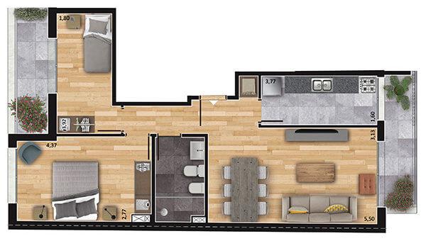 espacio soho 2 dormitorios 802