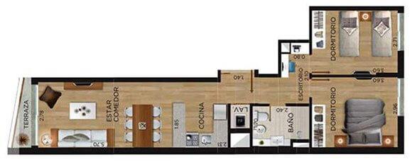 Domini Canelones Plano 2 dormitorios