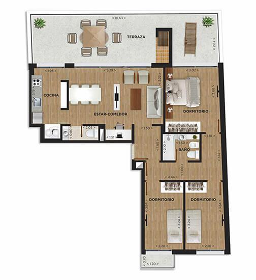 Edificio Domini Rivera - Plano 3 dormitorios unidad 1001 penthouse