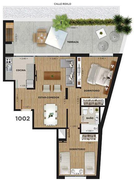 Domini Roxlo Plano 2 dormitorios penthouse